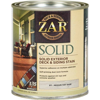 ZAR Solid Deck & Siding Stain, Medium Tint Base, 1 Qt.