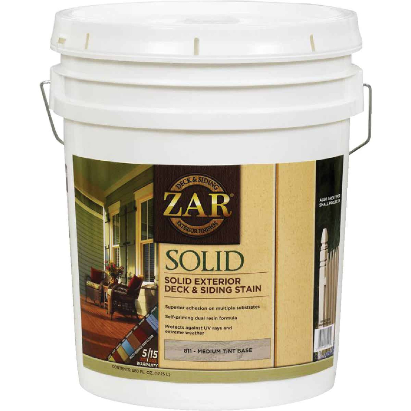 ZAR Solid Deck & Siding Stain, Medium Tint Base, 5 Gal. Image 1