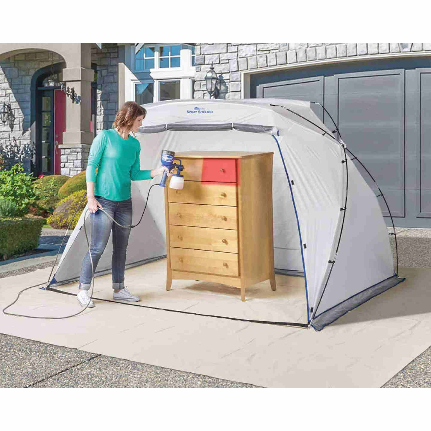 Wagner 9 Ft. W. x 5.5 Ft. H. x 6 Ft. D. Large Portable Spray Shelter Image 2