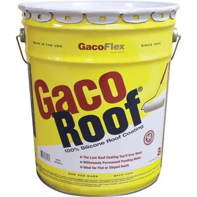 GacoFlex GacoRoof VOC-Compliant Silicone Roof Coating, White, 5 Gal.