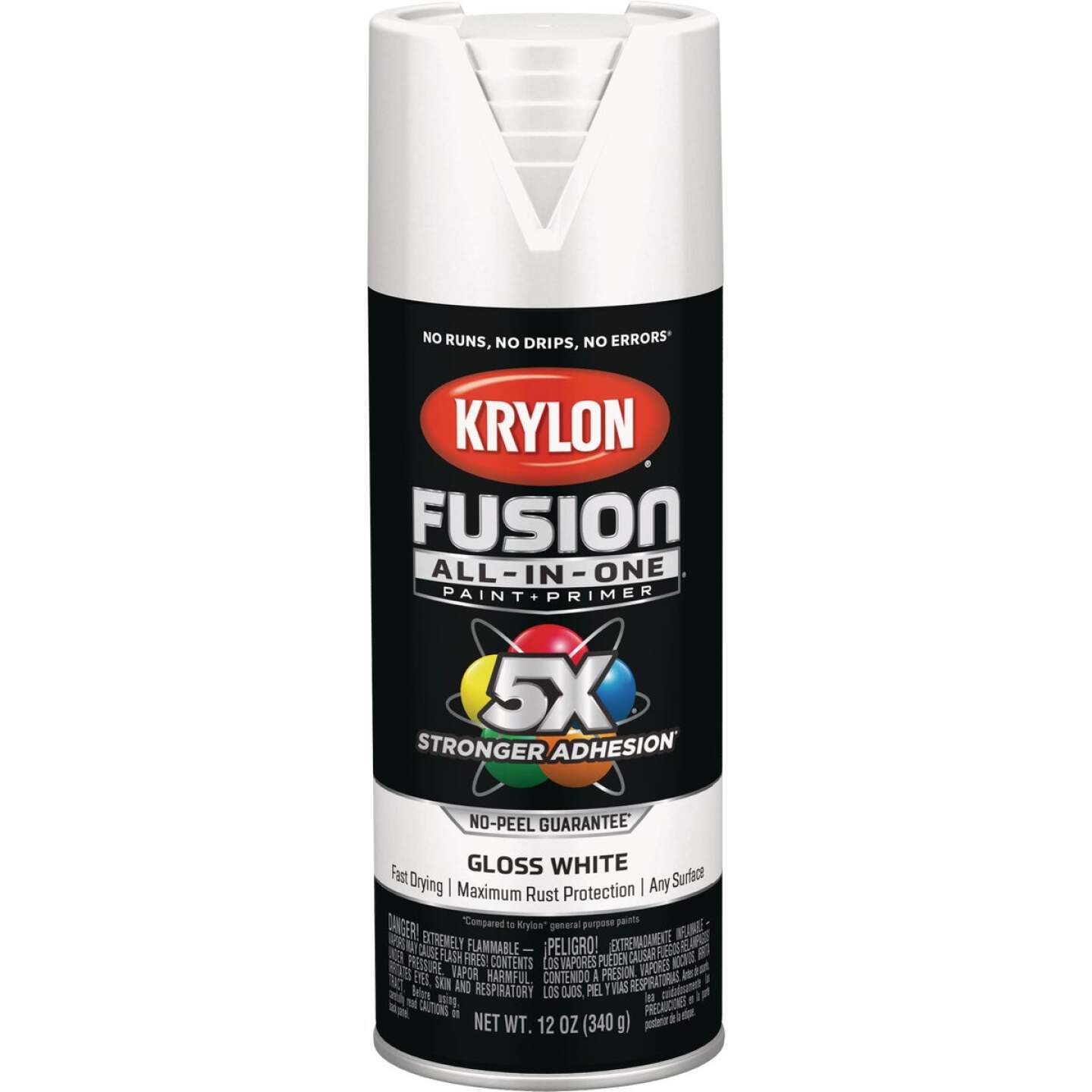 Krylon Fusion All-In-One Gloss Spray Paint & Primer, White Image 1