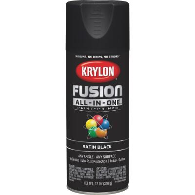 Krylon Fusion All-In-One Satin Spray Paint & Primer, Black