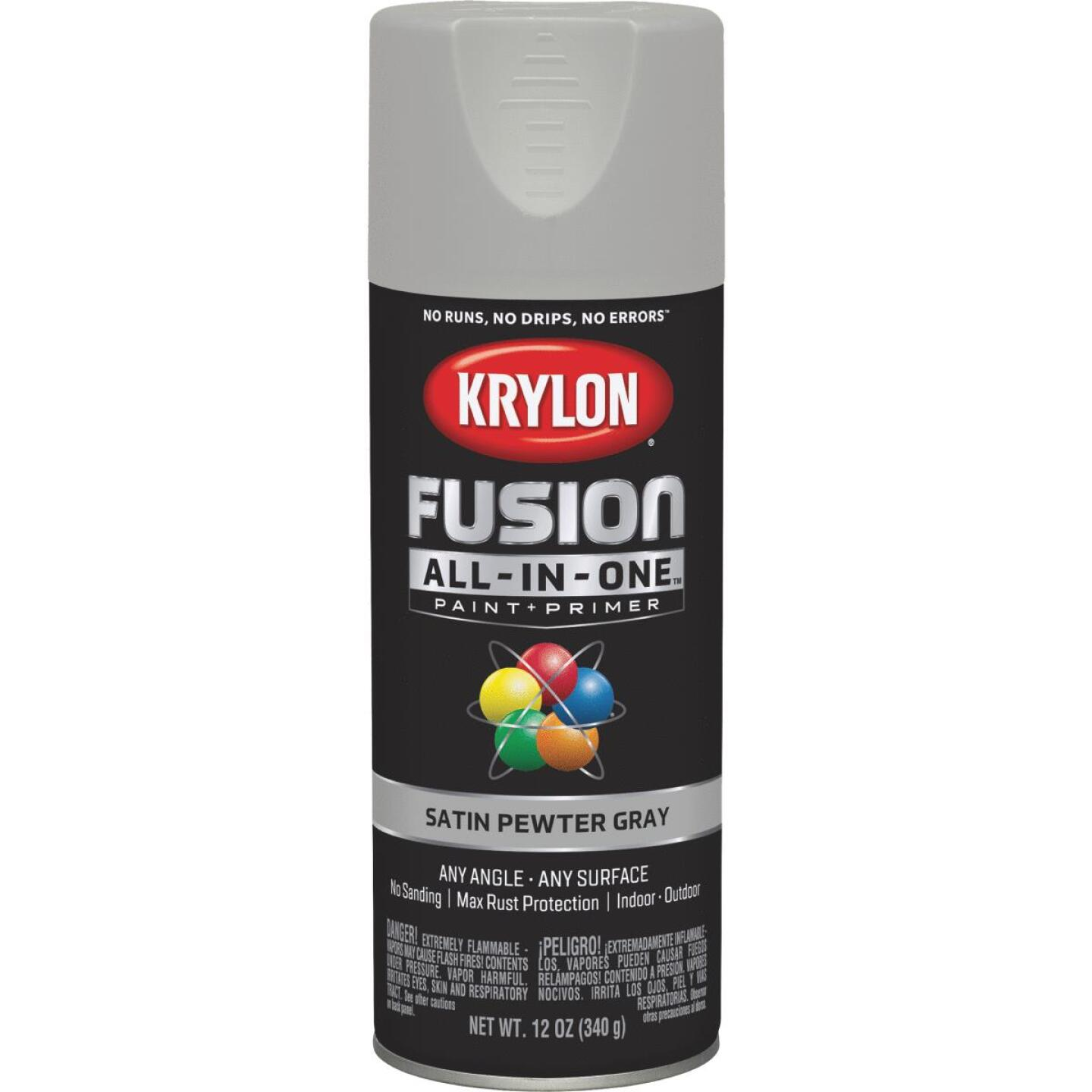 Krylon Fusion All-In-One Satin Spray Paint & Primer, Pewter Gray Image 1