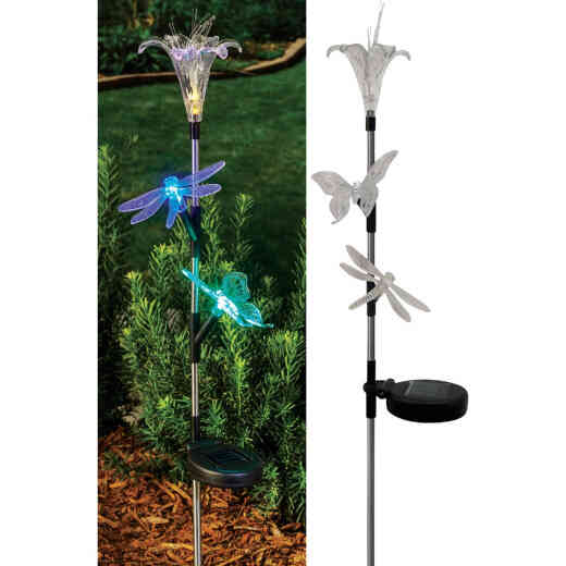 Solaris Acrylic Flower/Insect Trio 33 In. H. Solar Stake Light Lawn Ornament