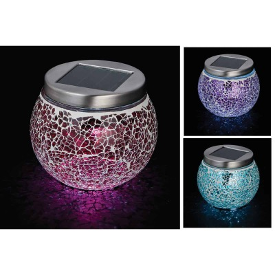 Outdoor Expressions 3.5 In. H. x 3.5 In. Dia. Green, Red, or Purple Crackled Glass Tabletop Solar Patio Light