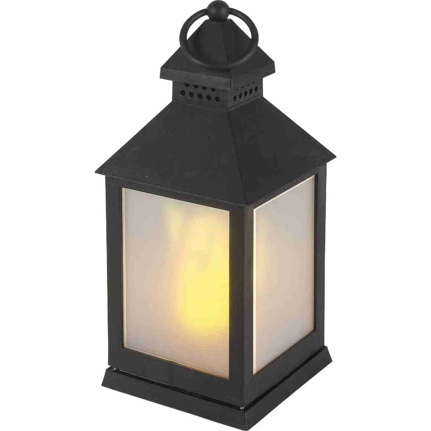 Everlasting Glow 4.13 In W. x 9.25 In. H. x 4.13 In. L. Black Square Patio Lantern Image 1