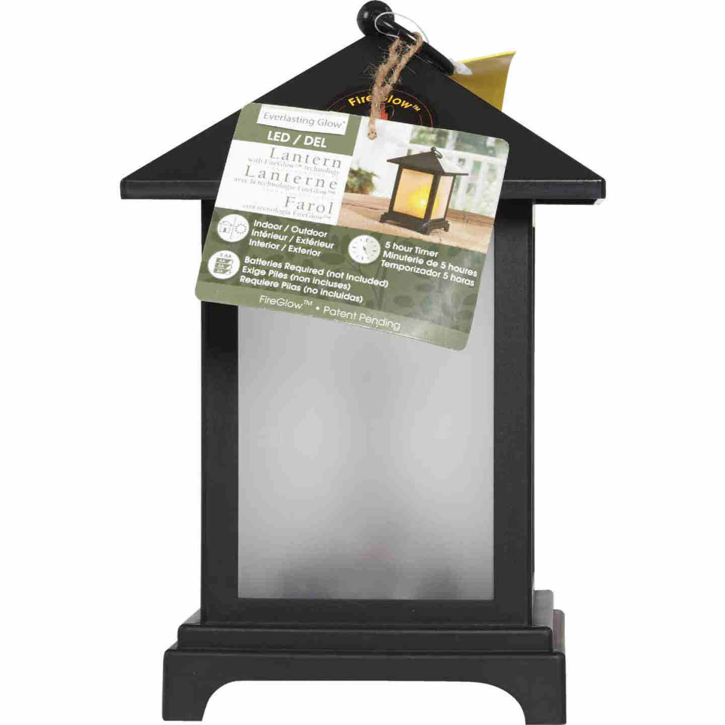 Everlasting Glow 4.13 In W. x 9.25 In. H. x 4.13 In. L. Black Square Patio Lantern Image 3