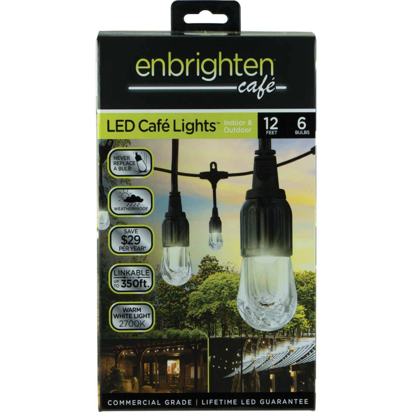 Enbrighten 12 Ft. 6-Light Warm White Clear Bulb Cafe String Lights Image 1