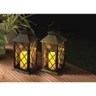 Gardman Cole and Bright 5.5 In. W. x 11 In. H. x 5.5 In. D. Amber Candle Light Plastic LED Solar Lantern Image 2