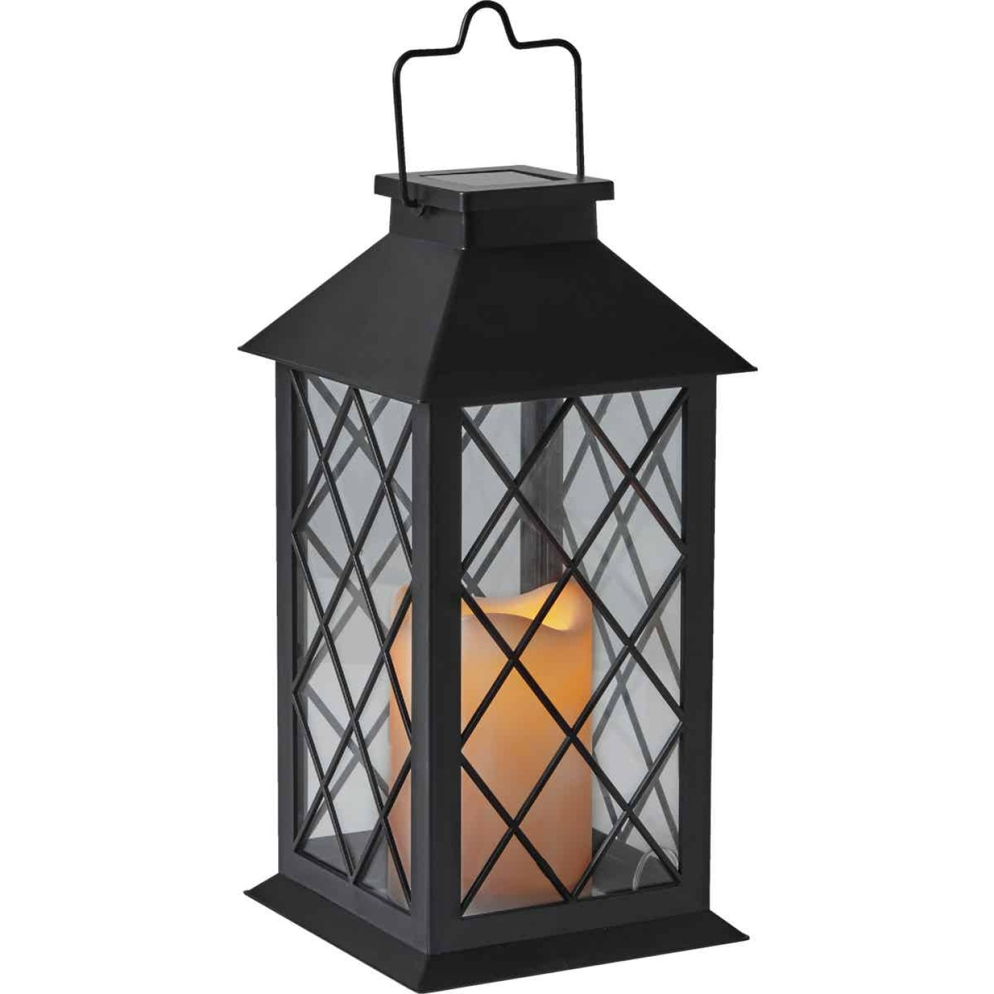 Gardman Cole and Bright 5.5 In. W. x 11 In. H. x 5.5 In. D. Amber Candle Light Plastic LED Solar Lantern Image 4