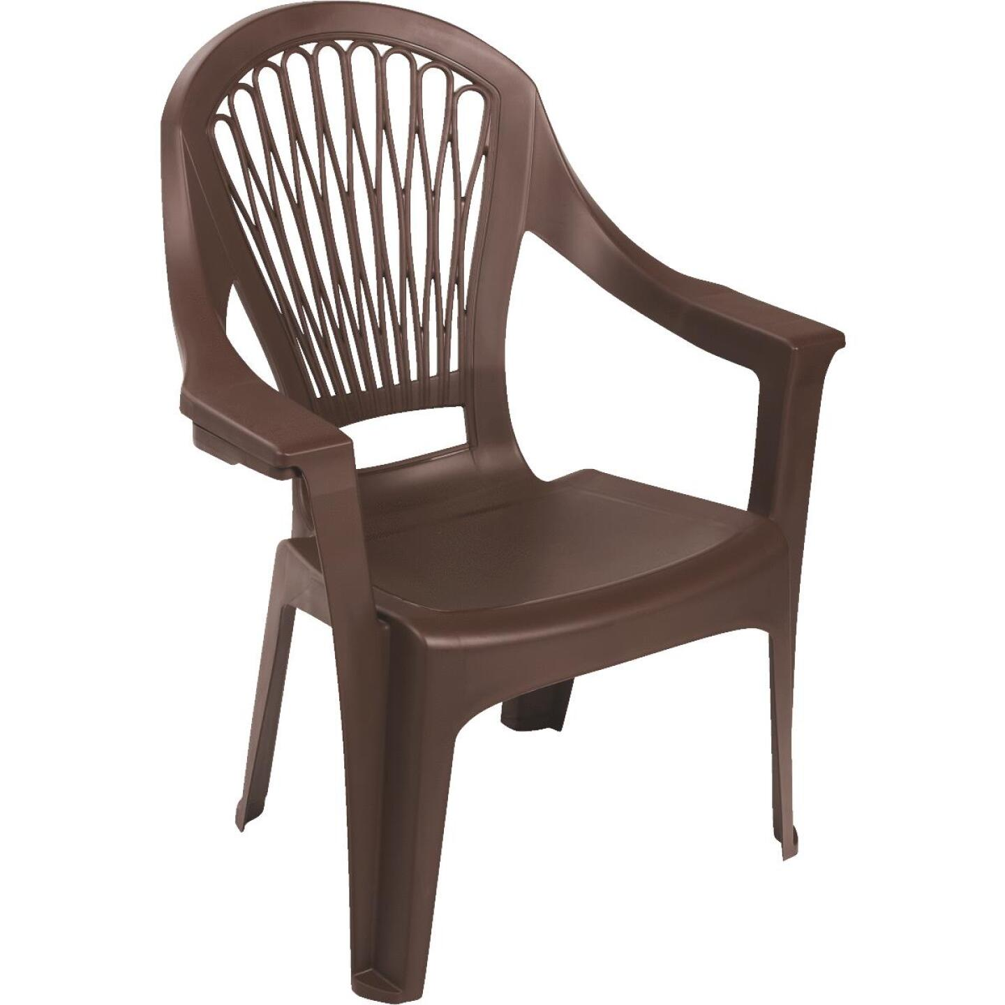 Adams Big Easy Earth Brown Resin High Back Stackable Chair Image 1