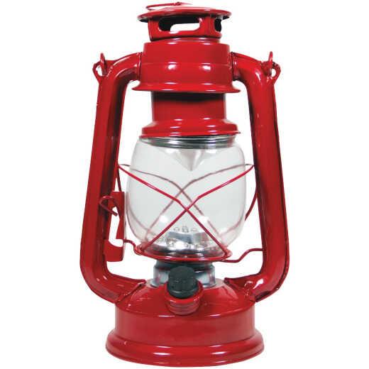 Alpine 5 In. W. x 9 In. H. x 6 In. L. Red Cool White LED Hurricane Patio Lantern