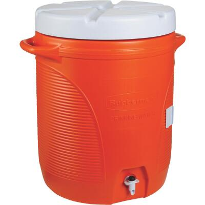 Rubbermaid 10 Gal. Orange Water Jug with In-Molded Handle
