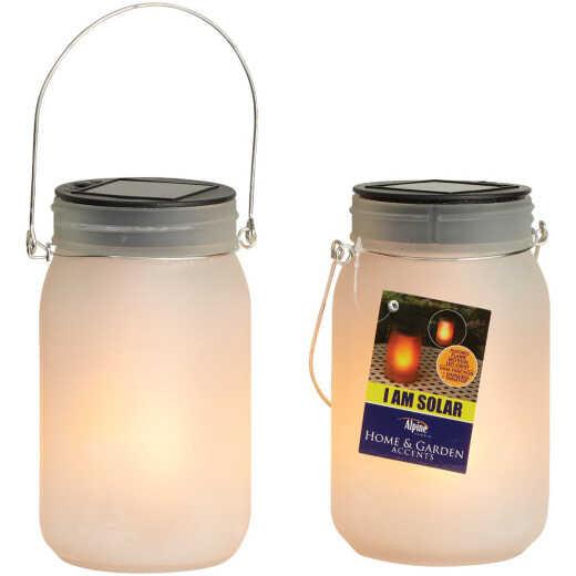 Alpine 4 In. Dia. Dancing Flame LED Solar Glass Jar Patio Lantern (Set of 2)